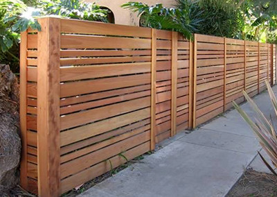 Modern Horizontal Cedar Fence with Access Gate
