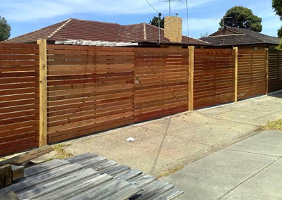 Horizontal Cedar Fence with Double Hinged Gate