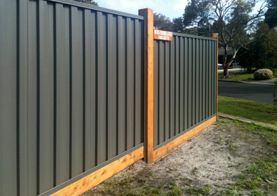 Colorbond Steel Infills with Timber Posts and Timber Gate